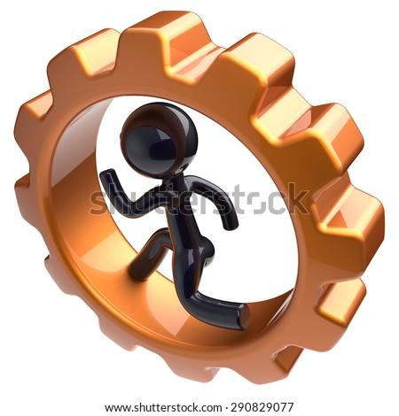Businessman character running inside gearwheel man rotate cogwheel stylized black human cartoon guy hamster person worker gear wheel business career employment hard job concept. 3d render isolated - stock photo