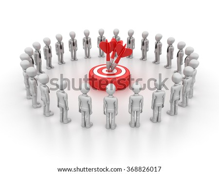 Businessman Character with Target and Dart - High Quality 3D Render  - stock photo