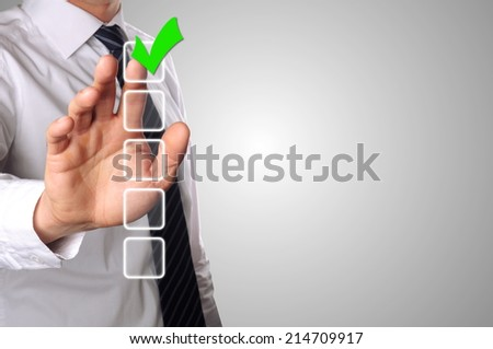 businessman choose one of the five options - stock photo