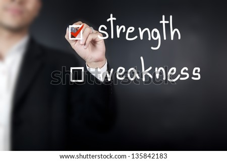Businessman choose strength as a choice - stock photo
