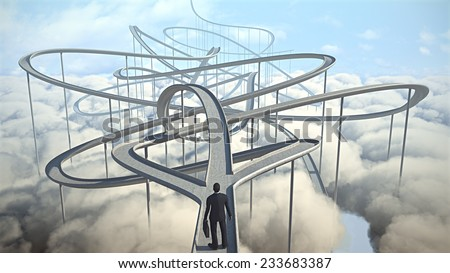 businessman chooses the path strategy - stock photo