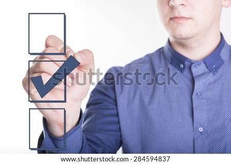 Businessman choosing one of three options - stock photo