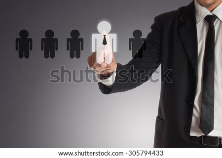 businessman choosing right partner from many candidates, Concept of teamwork. - stock photo