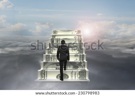 businessman climb on money stairs with natural sunlight cloudscape background - stock photo