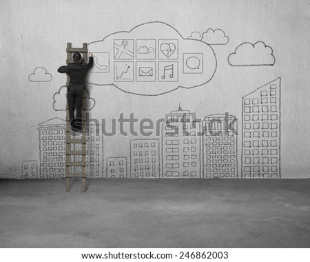 Businessman climbing and drawing app icon with sky buildings doodles on concrete wall background - stock photo