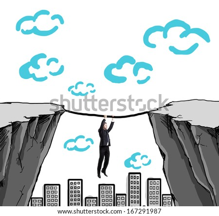 businessman climbing  from one mountain to another tightrope - stock photo