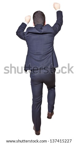 businessman climbing isolated on a white background - stock photo