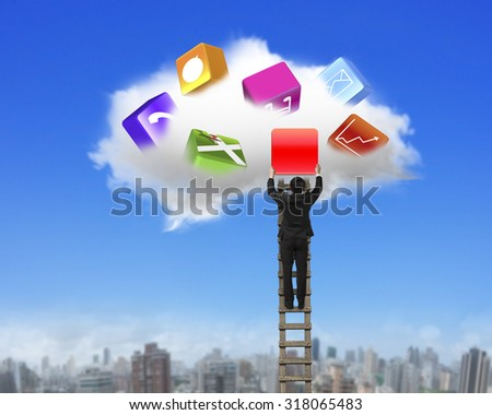Businessman climbing ladder and getting blank red icon from white cloud, on blue sky cityscape background. - stock photo