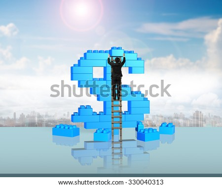 Businessman climbing ladder and holding a blue block to complete dollar sign shape of stack blocks, with sunny sky clouds background. - stock photo