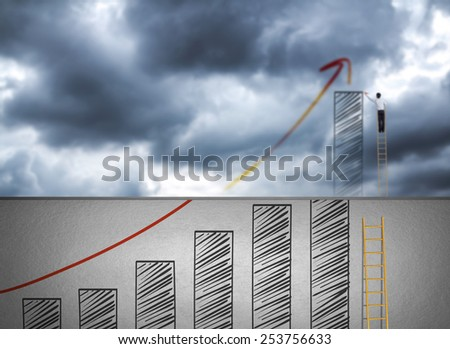 Businessman climbing ladder drawing growth chart on cloud, success in business concept - stock photo