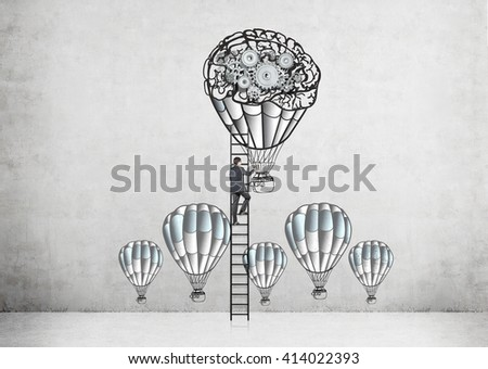 Businessman climbing ladder on concrete wall with airballoons and gears sketch - stock photo