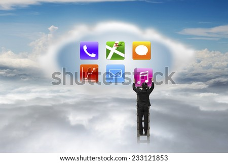 businessman climbing ladder to cloud getting music icon with nature sky cloudscape background - stock photo