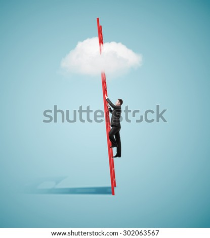 businessman climbing on ladder to clouds - stock photo