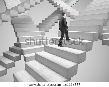 businessman climbing stairs among the many stairs - stock photo