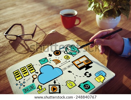 Businessman Cloud Computing Data Planning Working Concept - stock photo