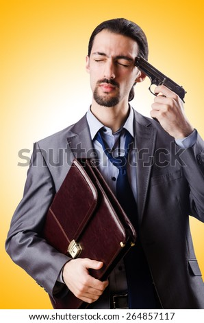Businessman committing suicide isolated on white - stock photo