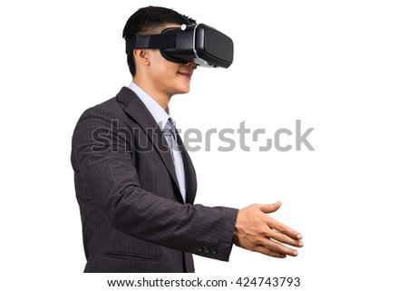 businessman communication by virtual reality. VR glasses, on white isolated background - stock photo