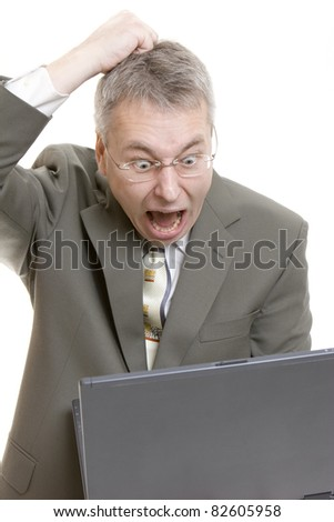 Businessman computer virus bug crash - stock photo