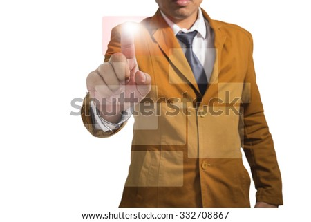 Businessman concept. Businessman works with huge touch screen - stock photo