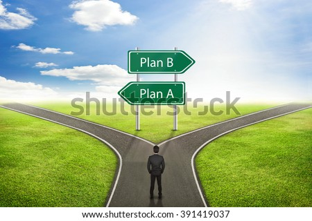 Businessman concept, Sign Plan A or B road to the correct way. - stock photo