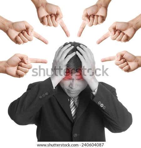 Businessman confused after do mistakes with his task. - stock photo