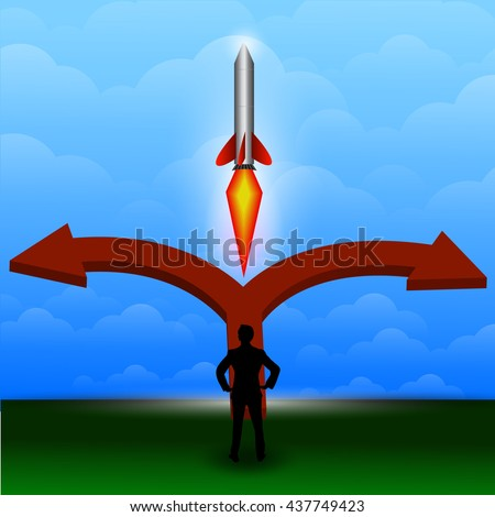 businessman confused with selection 3d to the right , the left or Rockets center vector. - stock photo