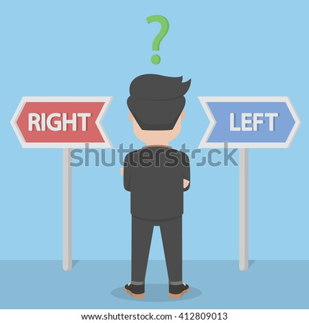 businessman confused with selection to the right or to the left - stock photo