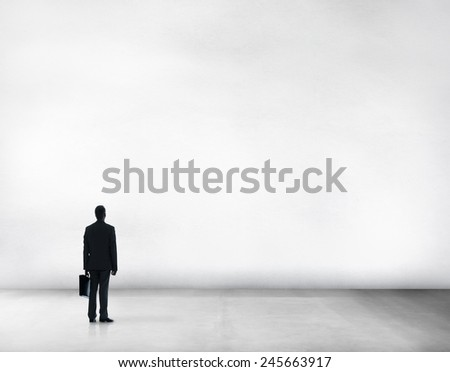 Businessman Copy Space Thinking Look up Creativity Ideas Attractive Concept - stock photo