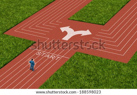 Businessman crossroads concept choosing the right path as a man on a track and field sport stadium facing a difficult choice and dilemma with two business directions as decision crisis metaphor. - stock photo