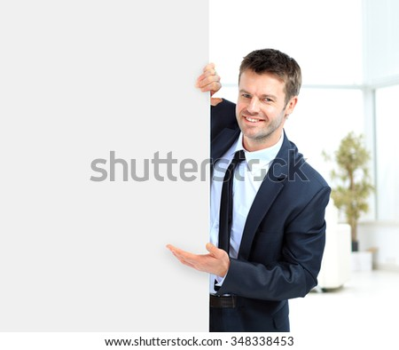 Businessman demonstrates the project to the potential customer and smiling - stock photo