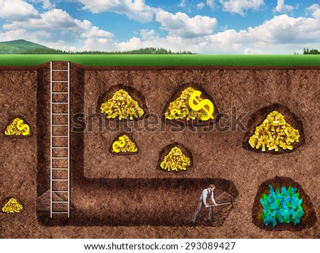 Businessman digs a tunnel to treasure - stock photo
