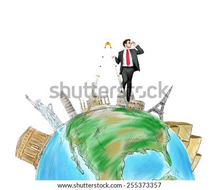 Businessman discovers new destinations in the world - stock photo