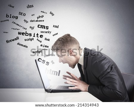 Businessman don't understand how to make a website - stock photo