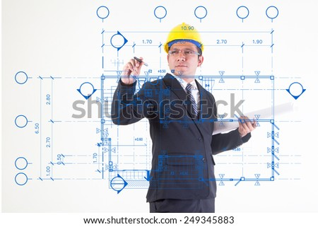 Businessman draw blueprint architecture - stock photo