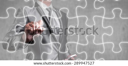 businessman draw jigsaw line, business strategy concept - stock photo