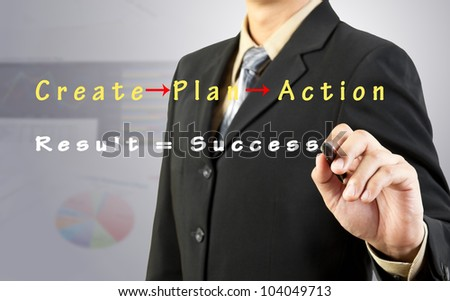 Businessman draw success flow chart - stock photo