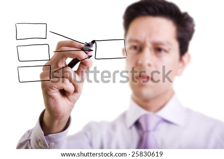 businessman drawing a flowing chart on a whiteboard (focus on the draw and point of the pen) - stock photo