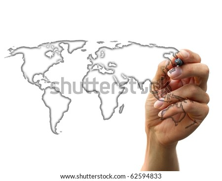 businessman drawing a map isolated on a white background - stock photo