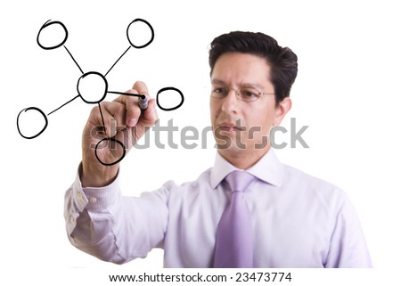 businessman drawing a organization chart in a whiteboard (selective focus) - stock photo
