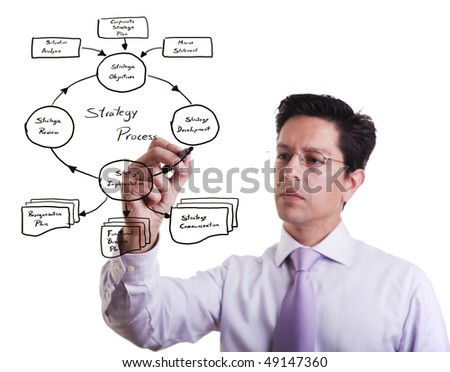 businessman drawing a strategic business plan (selective focus) - stock photo