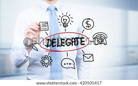 Businessman drawing abstract delegate sketch - stock photo