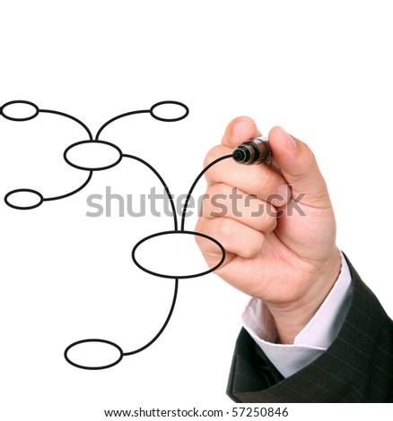businessman drawing an organization chart - stock photo