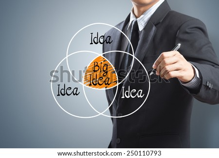 Businessman drawing big idea concept - stock photo