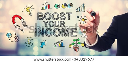 Businessman drawing Boost Your Income concept on blurred abstract background  - stock photo