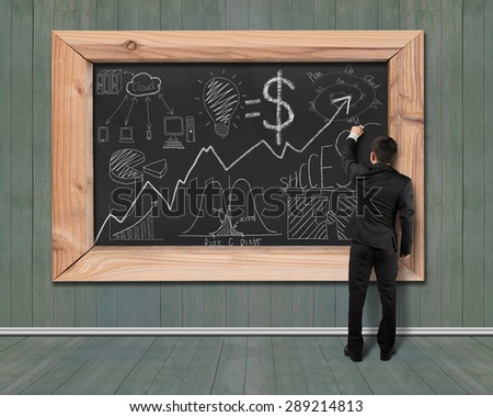 Businessman drawing business concept doodles on black chalkboard with green wood wall and floor background - stock photo