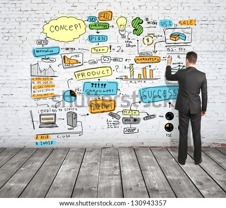 businessman drawing business strategy on brick wall - stock photo