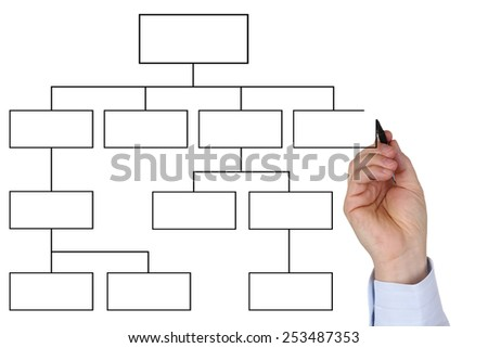 Businessman drawing empty diagram for business, analysis, concept, organization and education - stock photo