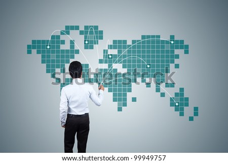Businessman drawing Expansion of business. - stock photo