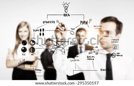businessman drawing global business concept - stock photo