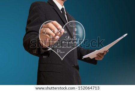 businessman drawing heart of concept business - stock photo